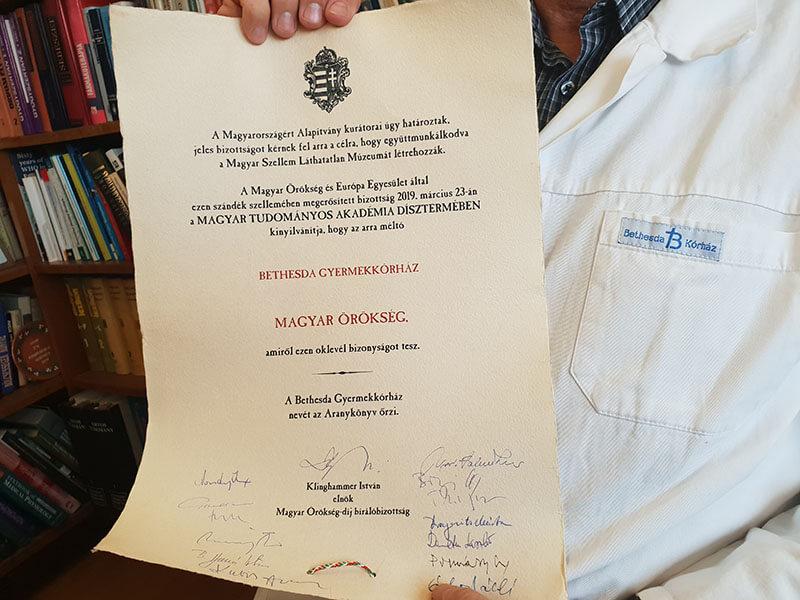 Magyar Örökség Díjat kapott a Bethesda Gyermekkórház!